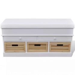 Ławka do przedpokoju z poduszką szufladami oraz drewnianymi skrzyniami
