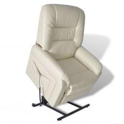 stradeXL Rozkładany fotel telewizyjny, beżowy, sztuczna skóra