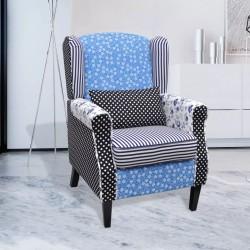 stradeXL Fotel patchworkowy, tkanina