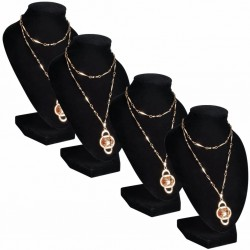 Flannel Jewelry Holder Necklace Bust Black 9 x 8.5 x 15 cm 4 pcs