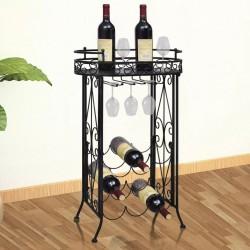 stradeXL Metalowy stojak na 9 butelek wina ze stolikiem i wieszakami