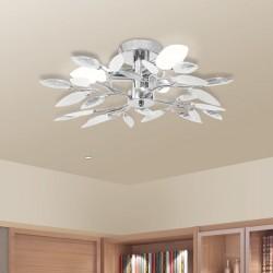 stradeXL Lampa sufitowa z białymi i bezbarwnymi listkami, 3 żarówki E14