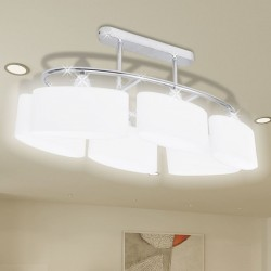 Nowoczesna lampa sufitowa, elipsa żarówki 6xE14