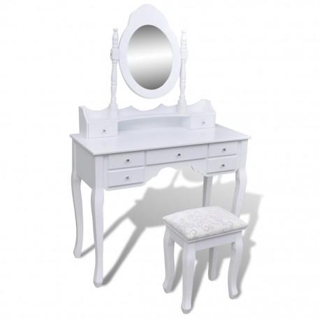 stradeXL Toaletka z lustrem i stołkiem, 7 szuflad, biała