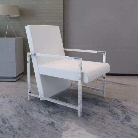 stradeXL Fotel z chromowanymi nóżkami, biały, sztuczna skóra
