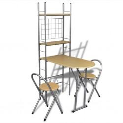 stradeXL Składany bar śniadaniowy z 2 krzesłami