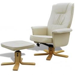 stradeXL Fotel z podnóżkiem, kremowy, sztuczna skóra