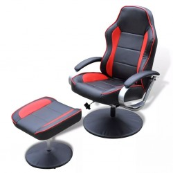 stradeXL Fotel z podnóżkiem, czarno/czerwony, sztuczna skóra