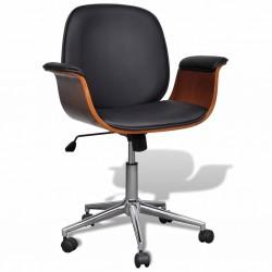 stradeXL Fotel biurowy, gięte drewno i sztuczna skóra