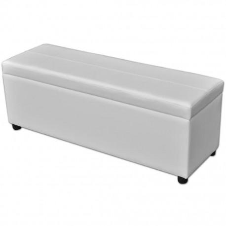Drewniana ławka ze schowkiem, biała