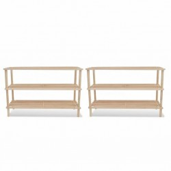 stradeXL 3-Tier Shoe Racks 2 pcs Solid Fir Wood