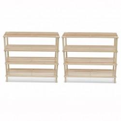 stradeXL 4-Tier Shoe Racks 2 pcs Solid Fir Wood