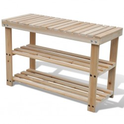 stradeXL 2-in-1 Shoe Rack with Bench Top Solid Fir Wood