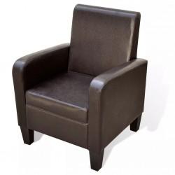 stradeXL Fotel, brązowy, sztuczna skóra