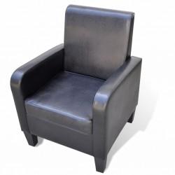 stradeXL Fotel, czarny, sztuczna skóra