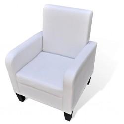 stradeXL Fotel, biały, sztuczna skóra