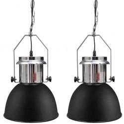 stradeXL Metalowe lampy sufitowe, 2 szt., regulowana długość, czarne