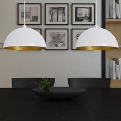 stradeXL Lampy sufitowe, 2 szt., regulowana długość, półokrągłe, białe