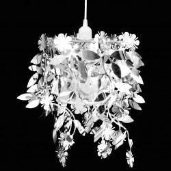 stradeXL Lampa z abażurem w kształcie liści, 21,5 x 30 cm, srebrna