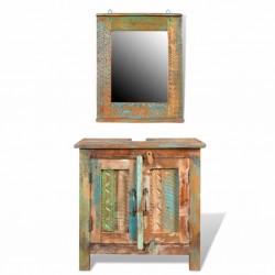 Zestaw mebli łazienkowych z drewna odzyskanego, lustro i szafka