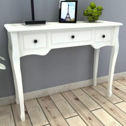 stradeXL Dressing Console Table with Three Drawers White