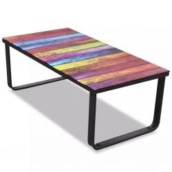 stradeXL Coffee Table with Rainbow Printing Glass Top