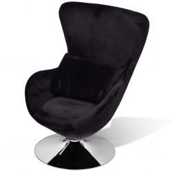 stradeXL Fotel o owalnym kształcie, czarny