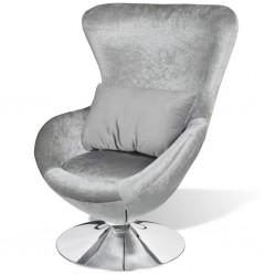 stradeXL Fotel o owalnym kształcie, srebrny