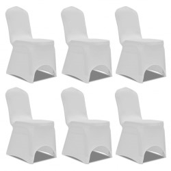 stradeXL Białe elastyczne pokrowce na krzesła, 6 szt.
