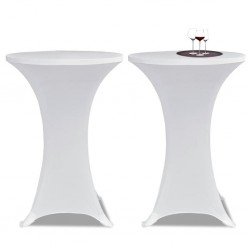 Standing Table Cover Ø 60cm White Stretch 2 pcs