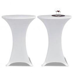 stradeXL Obrus na stół barowy Ø 60 cm, biały, elastyczny, 2 szt.
