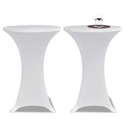 Obrus na stół barowy Ø 70 cm biały rozciągany 2 szt