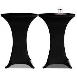 Obrus na stół barowy Ø 70 cm czarny rozciągany 2 szt