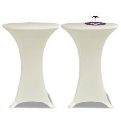 Obrus na stół barowy Ø 60 cm kremowy rozciągany 2 szt