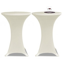 Standing Table Cover Ø60cm Cream Stretch 2 pcs