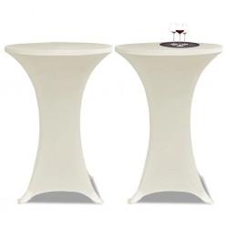 Obrus na stół barowy Ø 80 cm kremowy rozciągany 2 szt