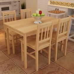 Drewniany zestaw jadalniany stół z 4 krzesłami, naturalny