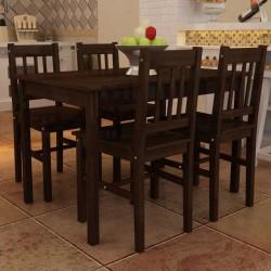 Drewniany zestaw jadalniany stół z 4 krzesłami, brązowy