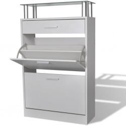 stradeXL Drewniana szafka na buty z szufladą i szklaną półką, biała