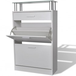 stradeXL Shoe Cabinet with a Drawer and a Top Glass Shelf Wood White