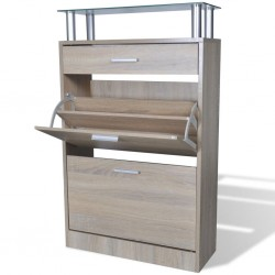 stradeXL Shoe Cabinet with a Drawer and a Top Glass Shelf Wood Oak Look