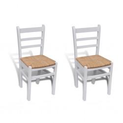 stradeXL Krzesła stołowe, 2 szt., białe, drewno sosnowe i sitowie