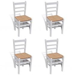 stradeXL Krzesła stołowe, 4 szt., białe, drewno sosnowe i sitowie