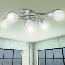 Lampa sufitowa ze szkła opalowego dla 5 żarówek E14