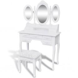stradeXL Toaletka z taboretem i 3 lustrami, biała