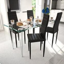 stradeXL Krzesła stołowe, 4 szt., czarne, sztuczna skóra