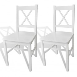 stradeXL Krzesła stołowe, 2 szt., białe, drewno sosnowe