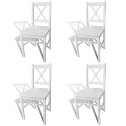 stradeXL Krzesła stołowe, 4 szt., białe, drewno sosnowe