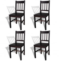 stradeXL Krzesła stołowe, 4 szt., ciemnobrązowe, drewno sosnowe