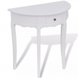 stradeXL Półokrągły stolik typu konsola z szufladą, biały